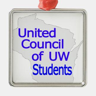 Nuevo azul unido del logotipo del consejo en gris ornaments para arbol de navidad