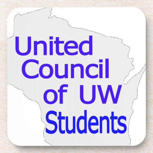 Nuevo azul unido del logotipo del consejo en gris posavasos