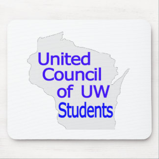 Nuevo azul unido del logotipo del consejo en gris alfombrillas de raton