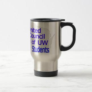 Nuevo azul unido del logotipo del consejo en gris taza de viaje de acero inoxidable