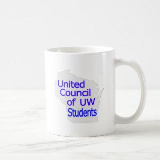Nuevo azul unido del logotipo del consejo en gris taza básica blanca