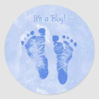Nuevo bebé Annoucements del muchacho de las Pegatina Redonda