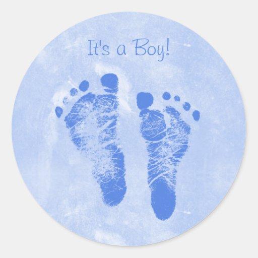 Nuevo bebé Annoucements del muchacho de las Etiqueta Redonda