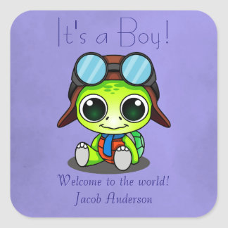 Nuevo bebé de Chibi de la tortuga linda del dibujo Pegatina Cuadrada
