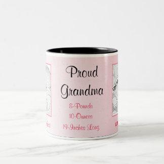 Nuevo bebé de la abuela orgullosa en rosa taza de dos tonos
