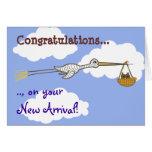 Nuevo bebé de la cigüeña y del búho del bebé felicitación