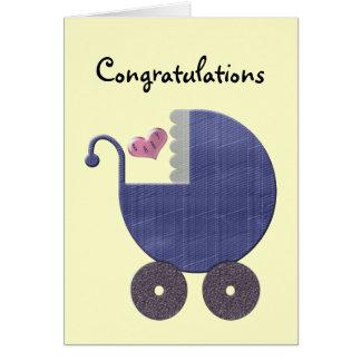 Nuevo bebé de la enhorabuena con arte azul del tarjeta de felicitación
