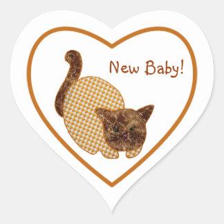 Nuevo bebé del estilo rural del gato lindo del calcomania corazon personalizadas