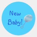 Nuevo bebé del traqueteo azul etiquetas