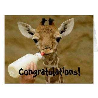 Nuevo bebé - es un chica - tarjeta de la jirafa de