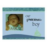 Nuevo bebé, invitación del marco del velero de la  tarjeta postal