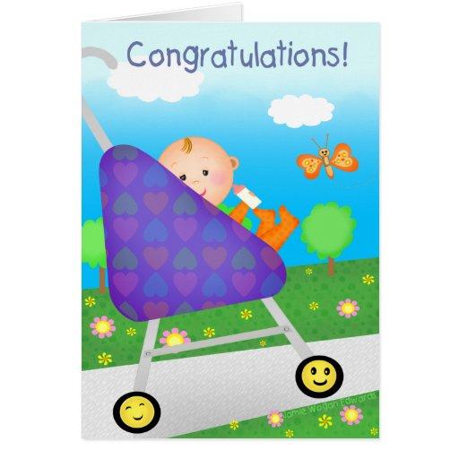 Nuevo bebé/llegada de la enhorabuena de encargo tarjeta de felicitación