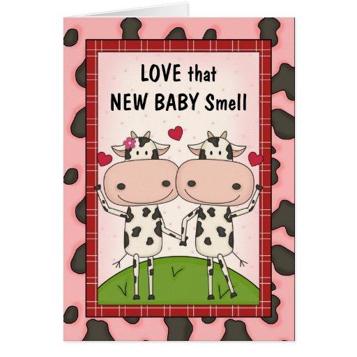 Nuevo bebé - vacas para los nuevos padres tarjeton