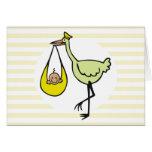 Nuevo bebé y cigüeña verde felicitación