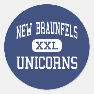 Nuevo Braunfels - unicornios - alto - nuevo Pegatina Redonda