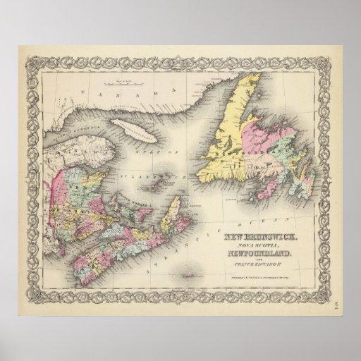 Nuevo Brunswick, Nueva Escocia, Terranova Póster
