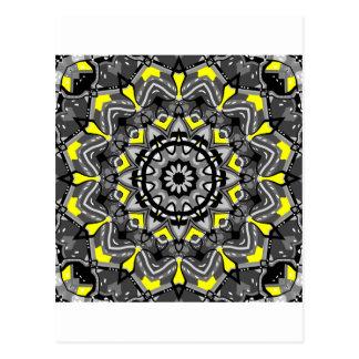Nuevo caleidoscopio gris y amarillo de la tela esc tarjetas postales