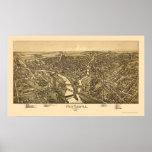 Nuevo castillo, mapa panorámico del PA - 1896 Poster