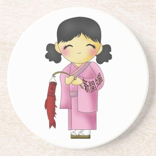 Nuevo chica de los pescados de los principios posavasos personalizados