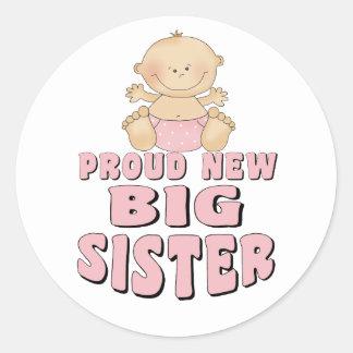 Nuevo chica orgulloso de la hermana grande pegatina redonda