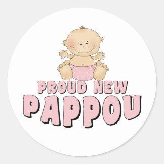 NUEVO chica ORGULLOSO de Pappou Pegatina Redonda