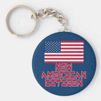 Nuevo ciudadano americano con la bandera americana llavero personalizado