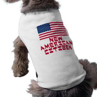 Nuevo ciudadano americano con la bandera americana playera sin mangas para perro
