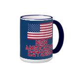 Nuevo ciudadano americano con la bandera americana tazas