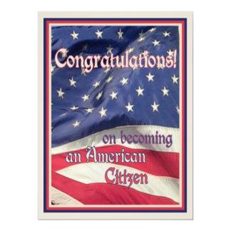 """¡Nuevo ciudadano americano de la enhorabuena! - Invitación 6.5"""" X 8.75"""""""
