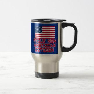 Nuevo ciudadano americano orgulloso taza de viaje de acero inoxidable