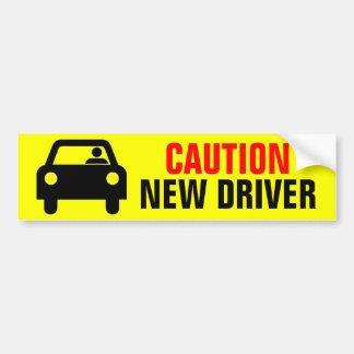 Nuevo conductor de la precaución amarilla brillant etiqueta de parachoque