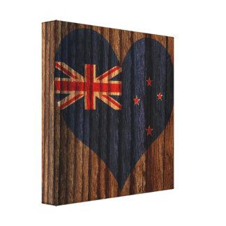Nuevo+Corazón de la bandera de Selandia en el tema Impresión En Lienzo Estirada