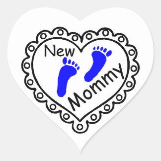 Nuevo corazón del azul del muchacho de la mamá pegatina en forma de corazón