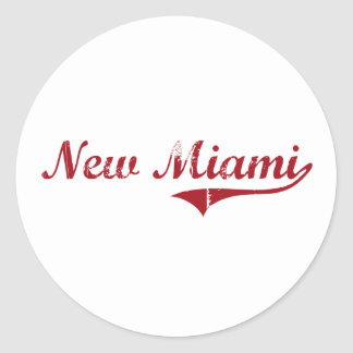 Nuevo diseño clásico de Miami Ohio Pegatina Redonda