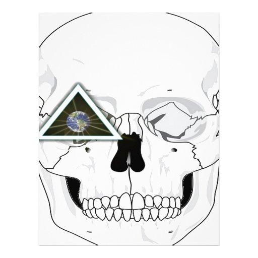Nuevo diseño del cráneo del orden mundial membretes personalizados