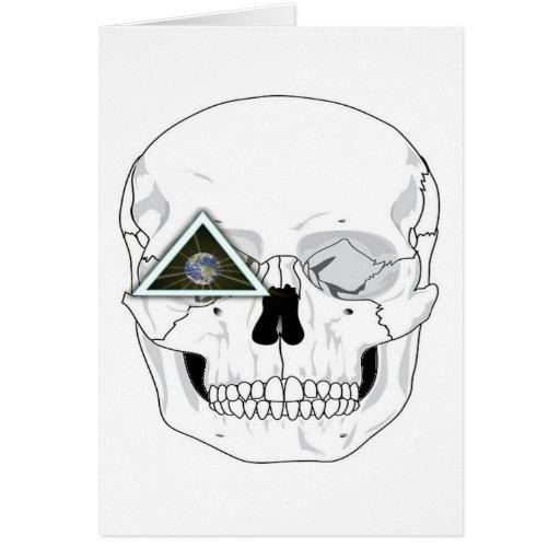 Nuevo diseño del cráneo del orden mundial tarjeta de felicitación
