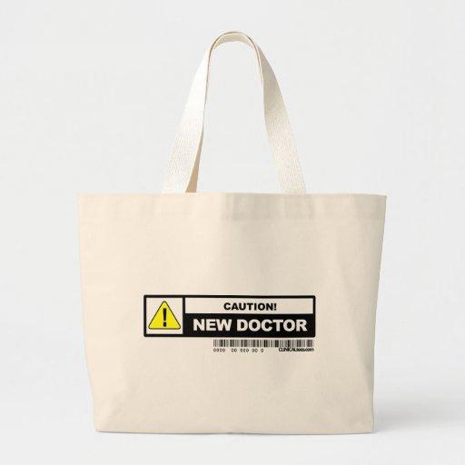 Nuevo doctor de la precaución bolsa lienzo