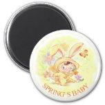 Nuevo ejemplo del conejo del bebé de la primavera iman de frigorífico