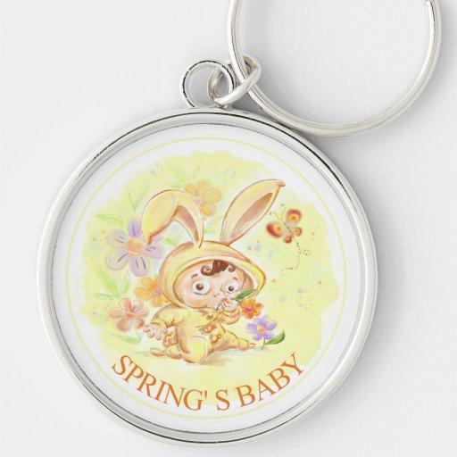 Nuevo ejemplo del conejo del bebé de la primavera llavero personalizado