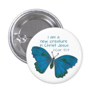 Nuevo en mariposa del azul del 5:17 de los Corinth Pin Redondo 2,5 Cm