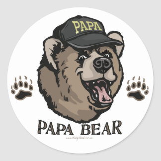 Nuevo engranaje del día de padre del oso de la pegatina redonda