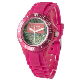 Nuevo establecimiento con silicio del rosa del reloj de mano