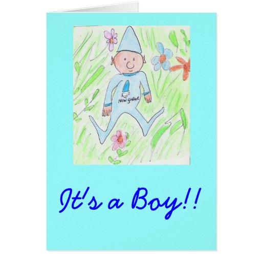 ¡nuevo gnomo, es un muchacho!! tarjeta de felicitación