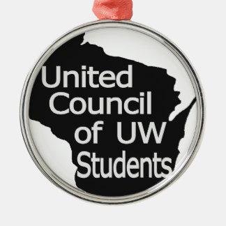 Nuevo gris unido del logotipo del consejo en negro ornamentos de navidad