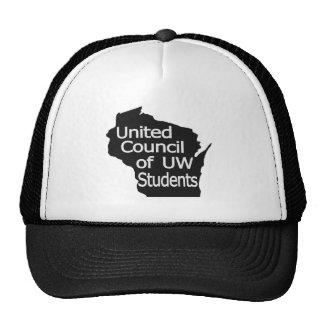Nuevo gris unido del logotipo del consejo en negro gorras de camionero