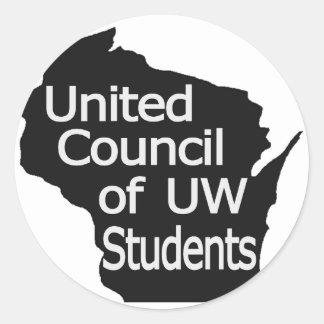 Nuevo gris unido del logotipo del consejo en negro pegatina redonda