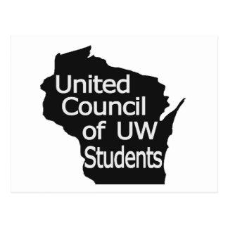 Nuevo gris unido del logotipo del consejo en negro postal
