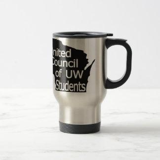 Nuevo gris unido del logotipo del consejo en negro taza de viaje de acero inoxidable