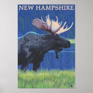 Nuevo HampshireMoose en el claro de luna Póster