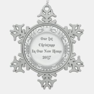 Nuevo hogar 2017 nuestro 1r navidad Snowfalke Adorno De Peltre En Forma De Copo De Nieve